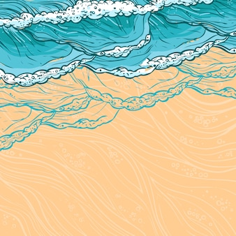 Ondas do mar e ilustração de praia