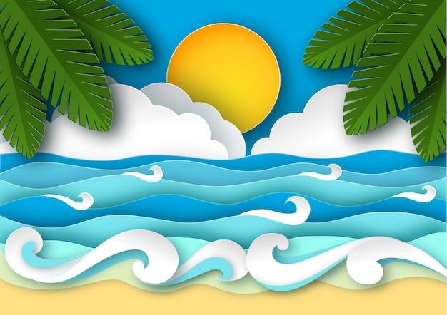 Ondas do mar e praia tropical em estilo de arte de papel.
