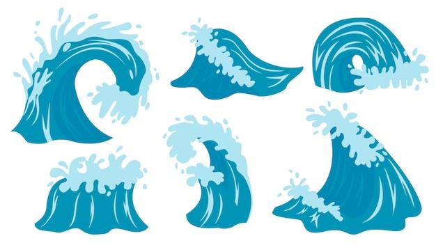 Ondas do mar. ilustração da onda do oceano