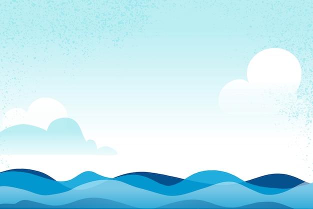 Ondas do mar / oceano azuis e fundo do céu