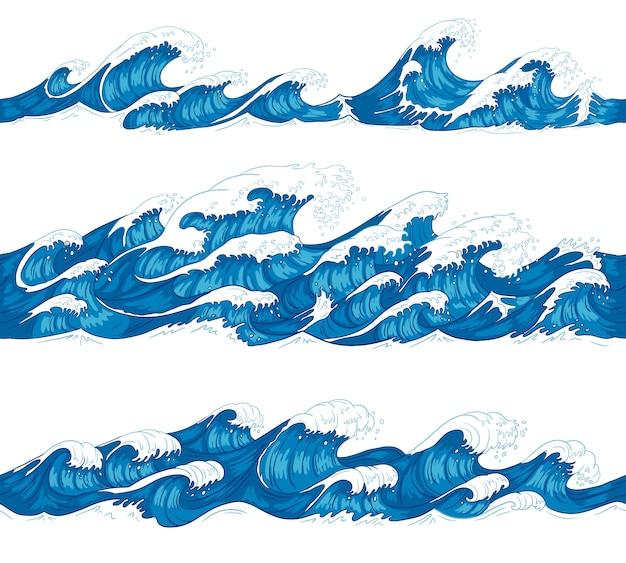 Ondas do mar sem costura. sea surf, onda decorativa de surf e água padrão conjunto de ilustração de desenho de mão