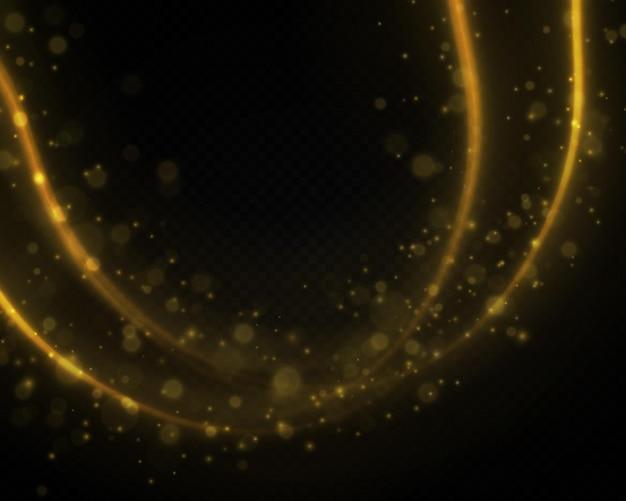 Ondas douradas dinâmicas linha amarela com efeito bokeh de luz e pó de vetor de faíscas amarelas