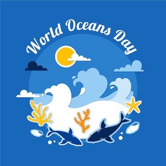 Ondas e criaturas subaquáticas dia mundial dos oceanos plana