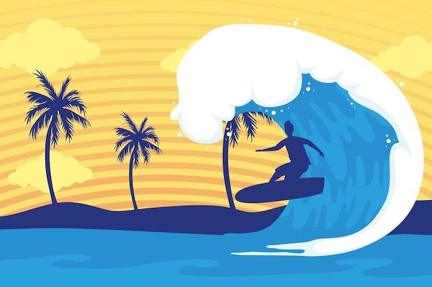 Ondas e surfista na cena do pôr do sol