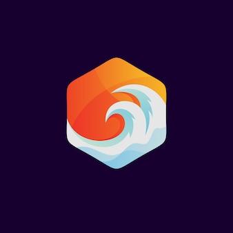 Ondas em design de logotipo de forma hexagonal