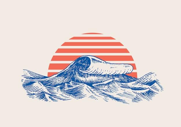 Ondas gigantes do atlântico e sol vermelho