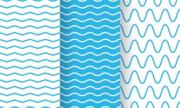 Ondas separadas, conjunto de padrões de listras infinitas onduladas, coleção.