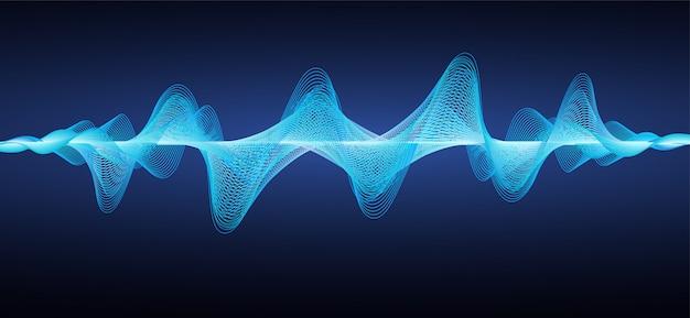 Ondas sonoras azuis abstratas.