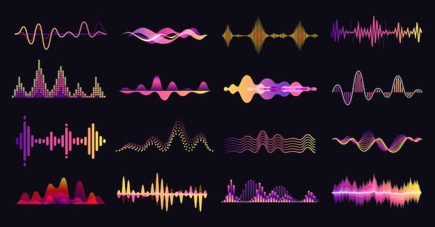 Ondas sonoras coloridas abstratas música áudio frequência voz onda sonora equalizador eletrônico forma de onda de rádio