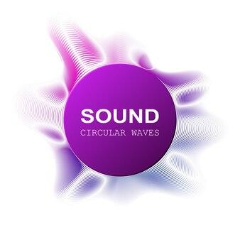 Ondas sonoras de cor radial em fundo escuro, ilustração