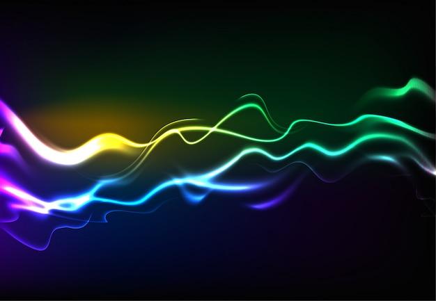 Ondas sonoras de fala moderna oscilando a luz azul escura