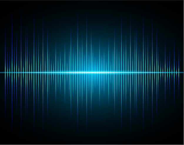 Ondas sonoras de luz azul escuro oscilante