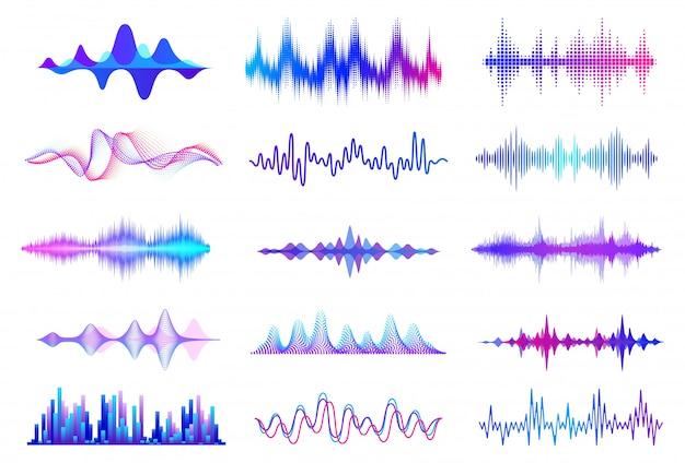 Ondas sonoras. forma de onda de áudio de frequência, elementos da interface hud de onda de música, sinal gráfico de voz. conjunto de ondas de áudio