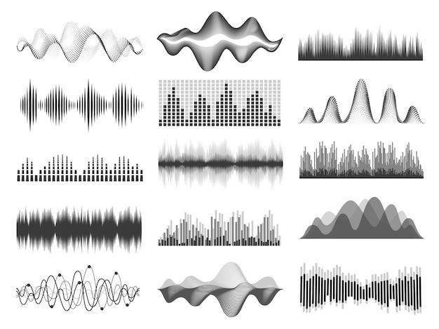 Ondas sonoras. frequência de onda sonora de música gráfica. linhas de pulso, equalizador de rádio, gravação de voz ou onda de impulso. conjunto de vetor gráfico de player de áudio. barra de trilha sonora fluente com curvas em estúdio ou clube
