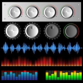 Ondas sonoras ondas de música digital e botões de software