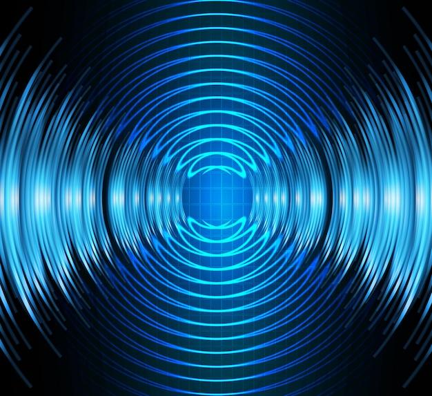Ondas sonoras, oscilando, azul escuro, luz, onda água