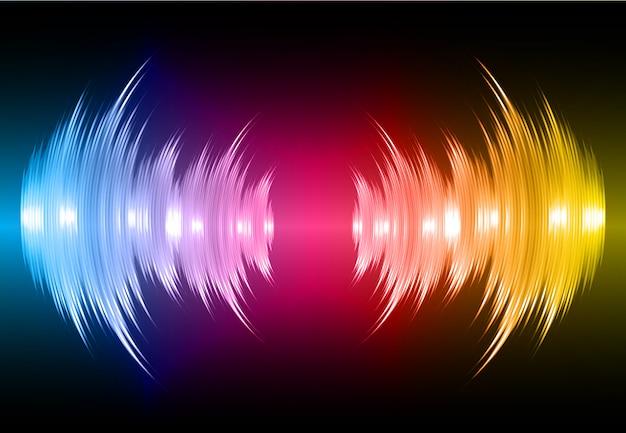 Ondas sonoras oscilando azul escuro rosa amarelo luz