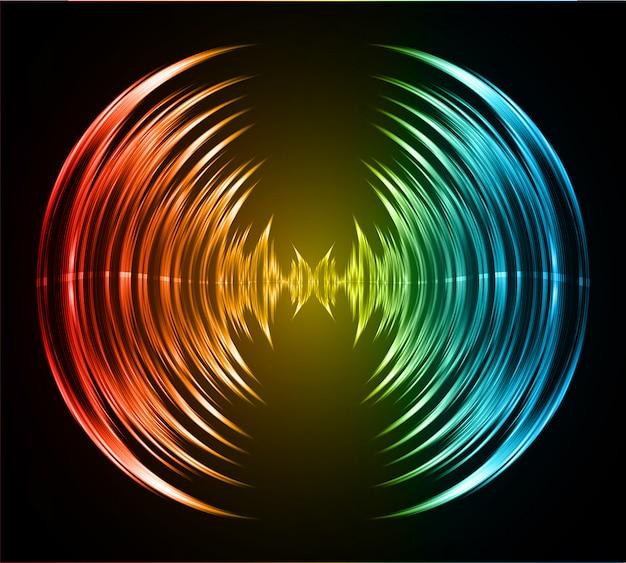 Ondas sonoras oscilando azul escuro vermelho amarelo luz