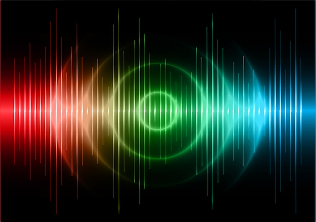 Ondas sonoras oscilando em azul escuro vermelho verde luz