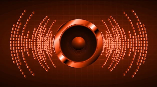 Ondas sonoras oscilando em luz laranja escura