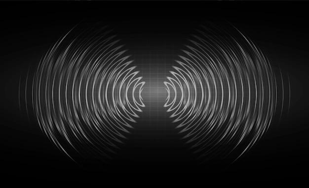 Ondas sonoras oscilando em luz negra escura