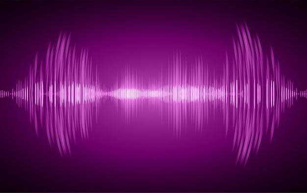 Ondas sonoras oscilando em luz roxa escura