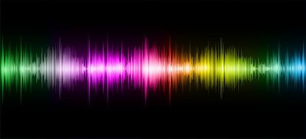 Ondas sonoras oscilando escuro colorido luz