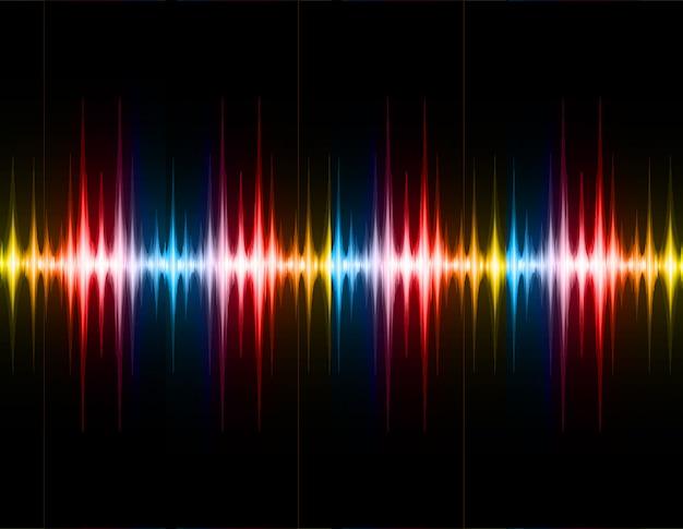 Ondas sonoras, oscilando, escuro vermelho, amarela, azul, luz