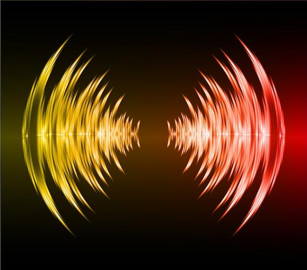 Ondas sonoras, oscilando, escuro vermelho, luz amarela