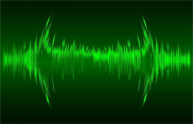 Ondas sonoras oscilando fundo verde escuro