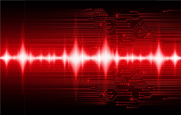 Ondas sonoras oscilando fundo vermelho escuro