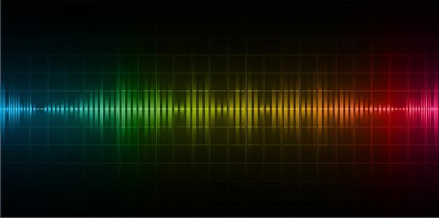 Ondas sonoras oscilando luz amarela rosa azul azul escuro
