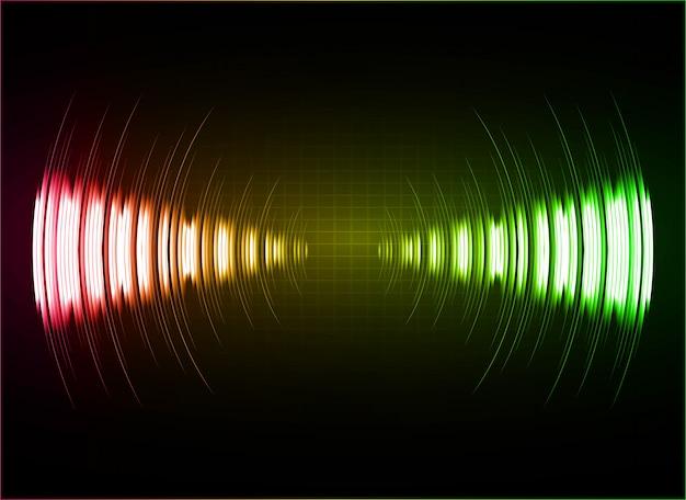 Ondas sonoras oscilando luz amarela rosa verde escuro