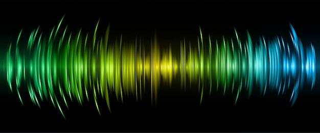 Ondas sonoras oscilando luz amarela verde azul escura