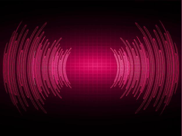 Ondas sonoras oscilando luz rosa escuro