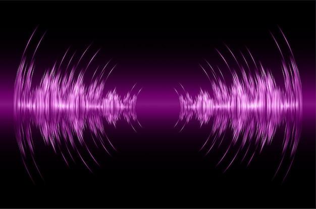 Ondas sonoras oscilando luz roxa escura