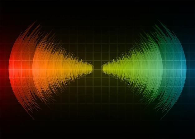 Ondas sonoras oscilando luz vermelha amarela azul escura