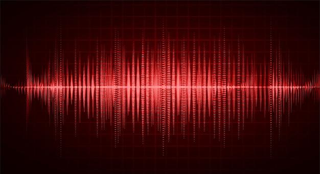 Ondas sonoras oscilando luz vermelha escura