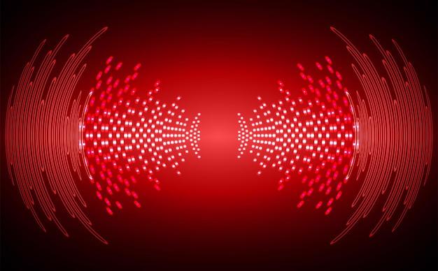 Ondas sonoras oscilando na luz escura