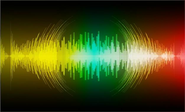 Ondas sonoras oscilando verde escuro amarelo vermelho luz