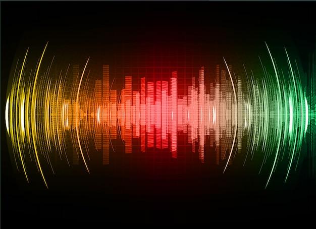 Ondas sonoras que oscilam em verde vermelho escuro