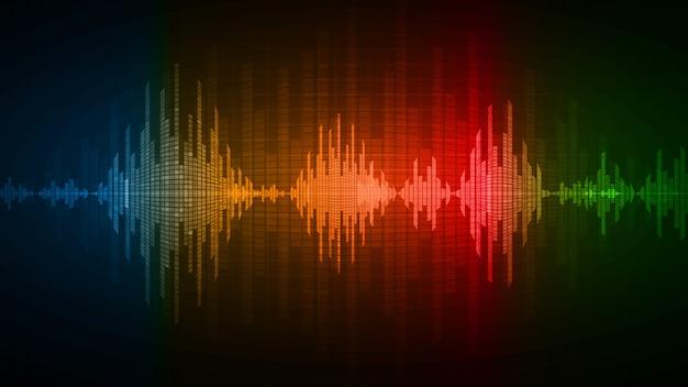 Ondas sonoras que oscilam em vermelho azul verde claro escuro