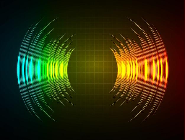 Ondas sonoras que oscilam luz verde laranja azul escuro