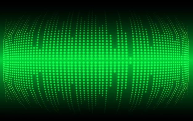 Ondas sonoras que oscilam na luz verde escura