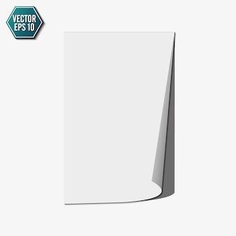 Ondulação de página com sombra em uma folha de papel em branco, elemento de design para publicidade e mensagem promocional, isolada no fundo branco. ilustração.