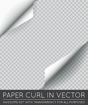 Ondulação de página de papel com sombra isolada.