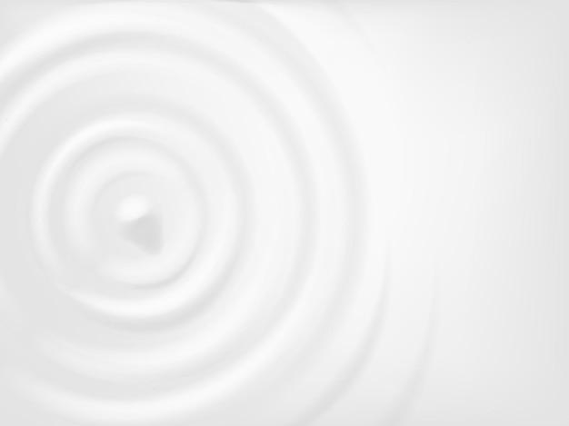 Ondulação do círculo de leite. ondas de respingo concêntrico em creme, iogurte ou laticínios. textura de ondulações de gota redonda de vista superior realista, conceito de vetor. ondas radiais ou anéis para propaganda