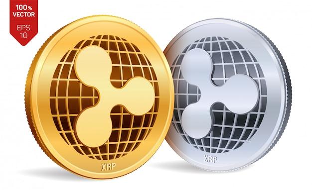 Ondulação. moedas de ouro e prata isoladas. criptomoeda.