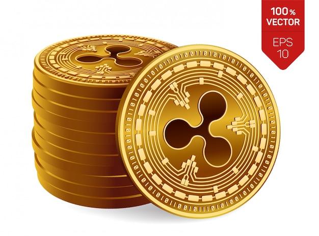 Ondulação. pilha de moedas de ouro com ondinha isolada. criptomoeda.
