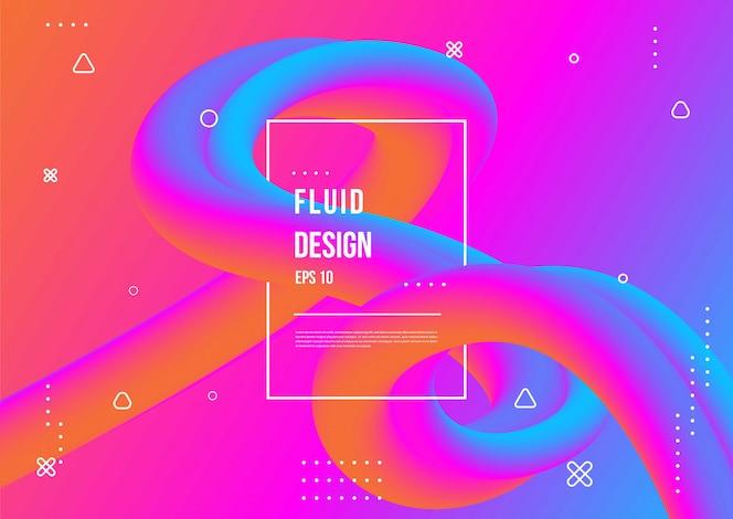 Ondulado geométrico com fundo fluido design. Composição de formas gradiente na moda